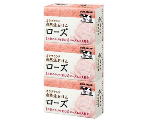 Cow Brand Natural Rose soap 100gx 3 [Rose]