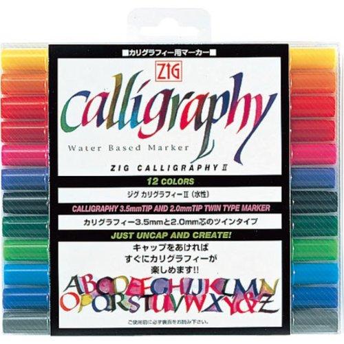 Kuretake Calligraphy Pen - 12 Color Set