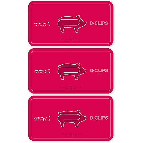 Midori Paperclips Pig Pattern D-Clips (3...
