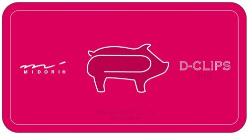Midori Paperclips Pig Pattern D-Clips (10...