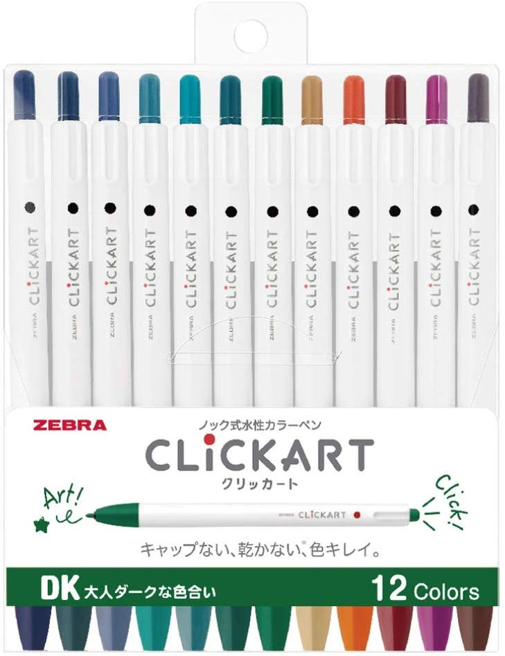 Zebra Clickart Water-Based Pen Calm Dark 12...